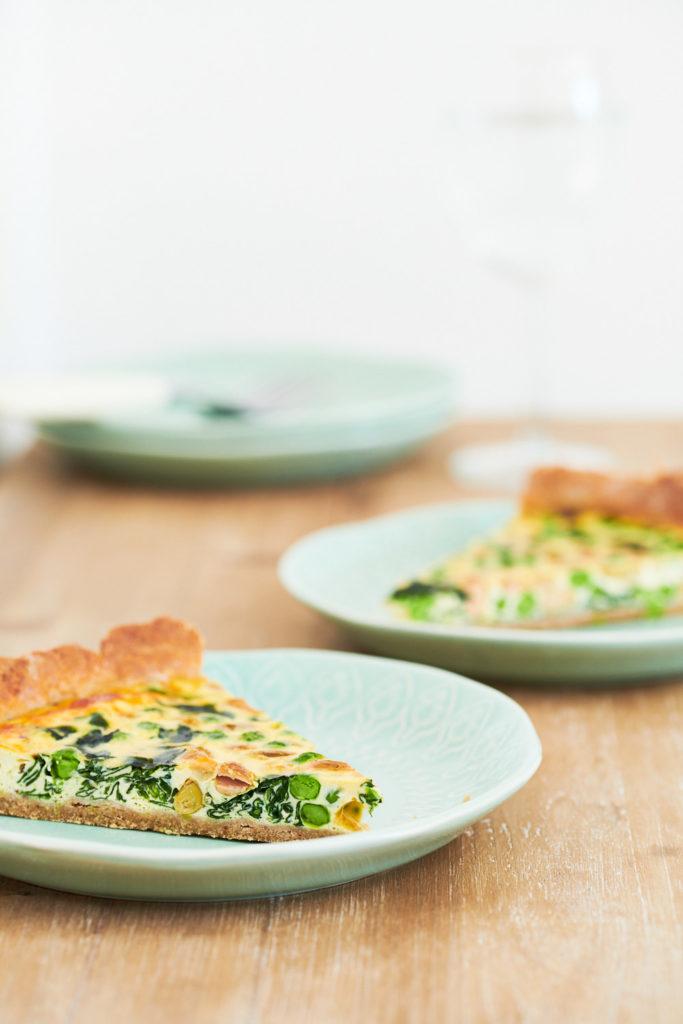 REcette de tarte aux petits pois et épinards pâte brisée maison - morceaux de tarte salée variante 1