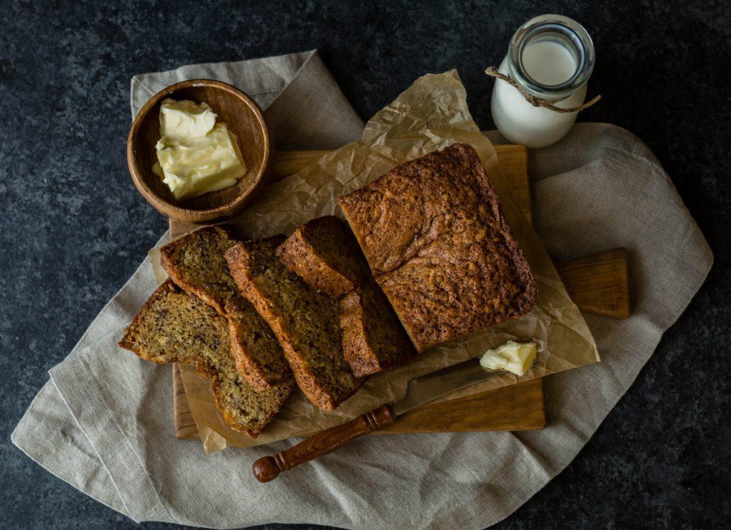 Recette de cake à la banane bananabread à base de noix de coco et de farines d'épeautre complet et de chataigne