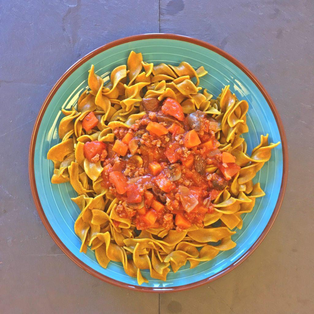 Recette d'une sauce bolognaise vegan à base de champignons et de protéines de soja texturées