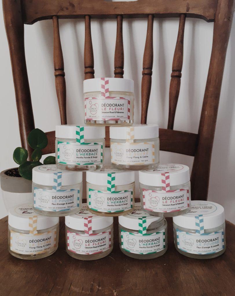 Photo de pots en verre de déodorant baume naturel Clémence & Vivien avis