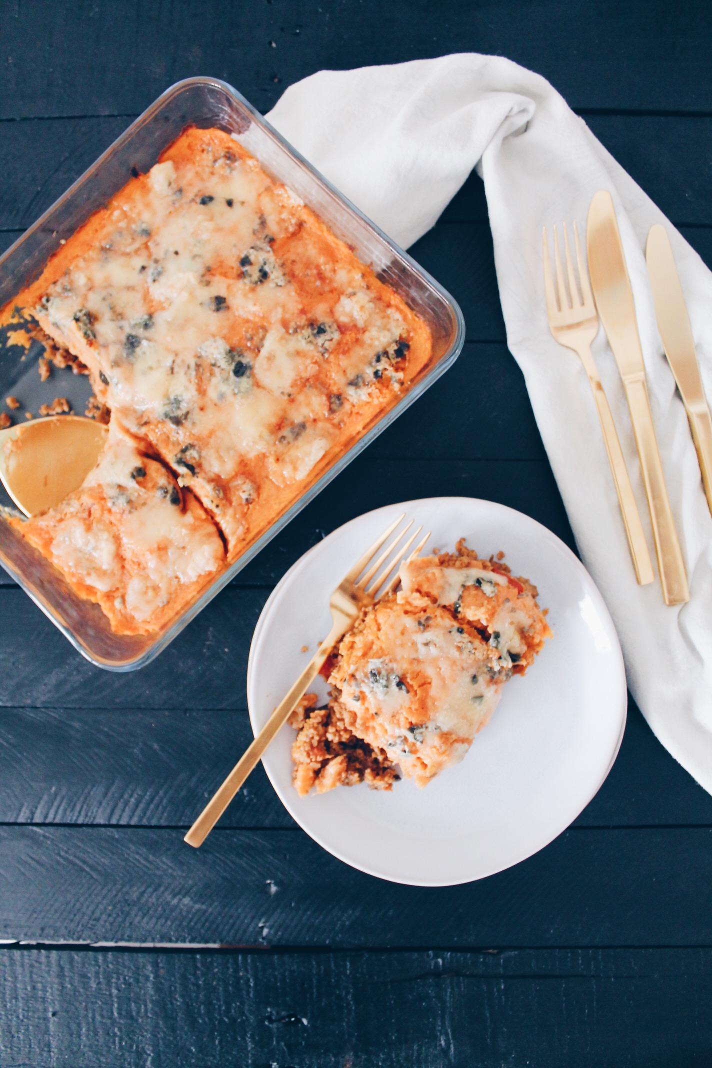 Recette de hachis parmentier végétarien au haché de seitan et à la purée de patate douce sur le blog laualamenthe.com