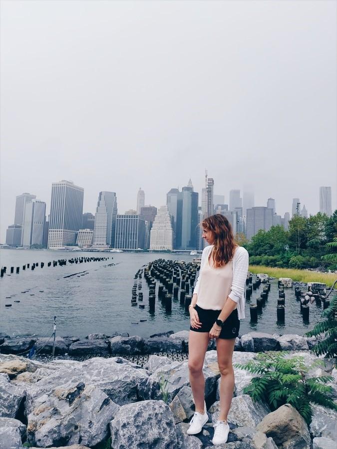 Vue sur la skyline depuis Brooklyn Bridge Park, dans le quartier de Dumbo à Brooklyn