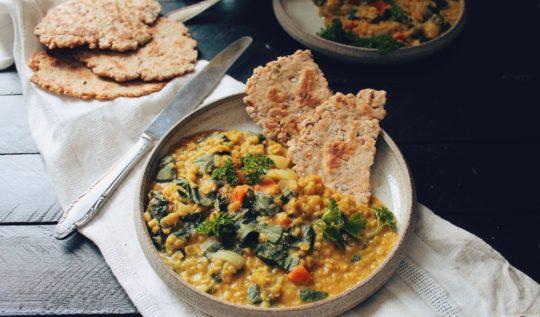 Recette de dahl de lentilles corail au lait de coco, carottes et épinards sur le blog laualamenthe.com